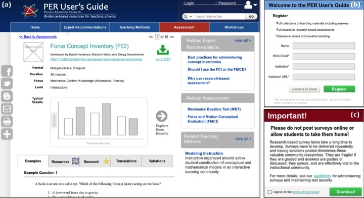 Screenshots of new assessment detail page, registration pop-up, and security terms pop-up