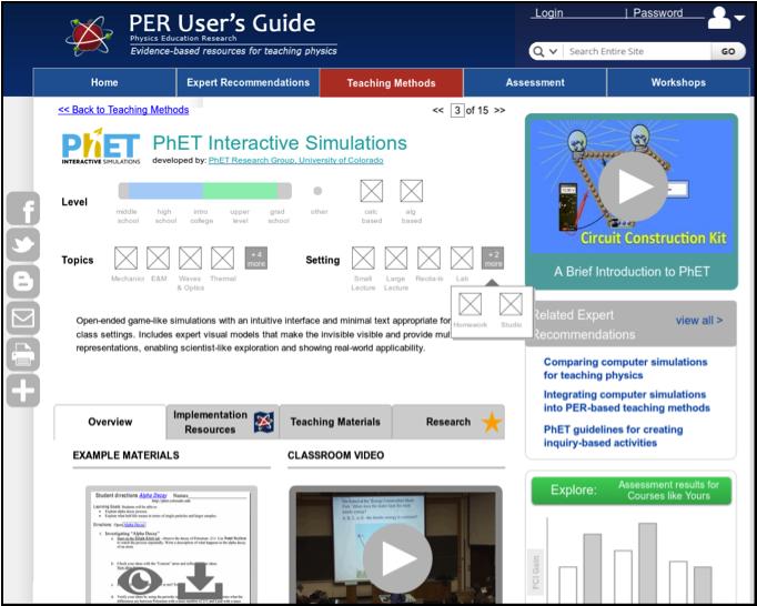 Screenshot of new teaching method detail page